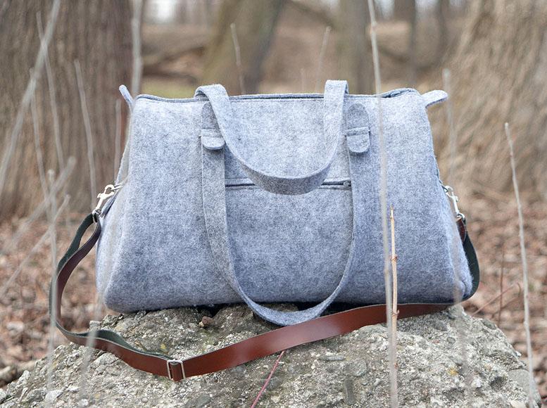 gray duffle