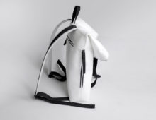 white felt long folding backpack